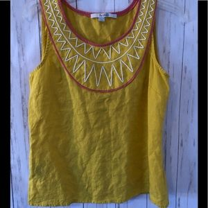 Boden Yellow Sleeveless Linen Tank  Size 6
